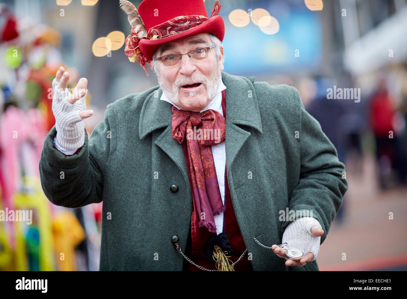 lowry market trader in Victorian dress costume - Stock Image