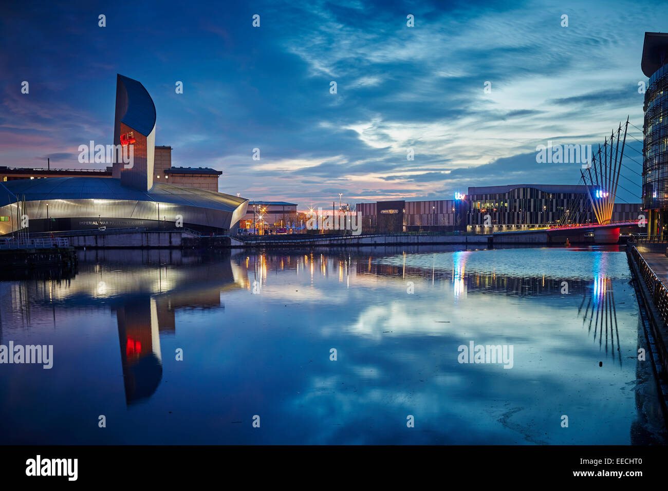 Lowry Outlet at Media City in Salford Quays, The Imperial War Museum North by Architect: Daniel Libeskind Stock Photo