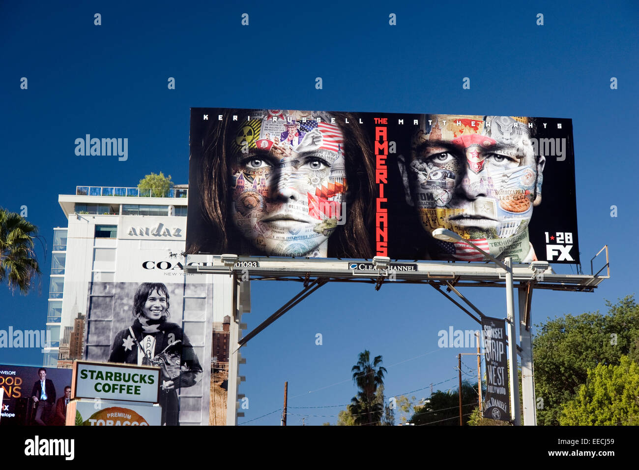 Billboard on the Sunset Strip for FX show the Americans - Stock Image