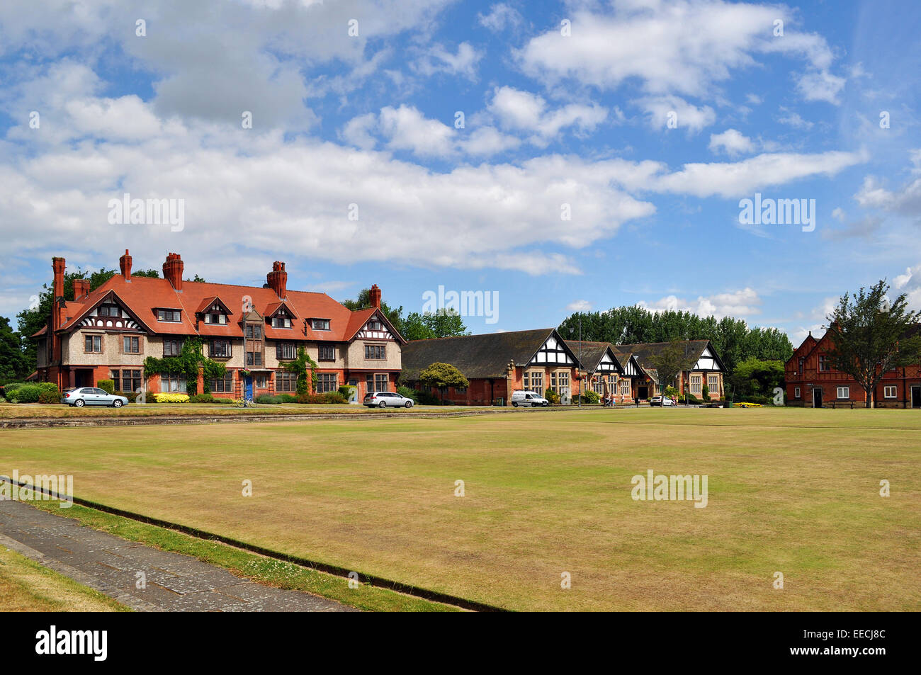 The bowling green in Port Sunlight, Merseyside, uk - Stock Image