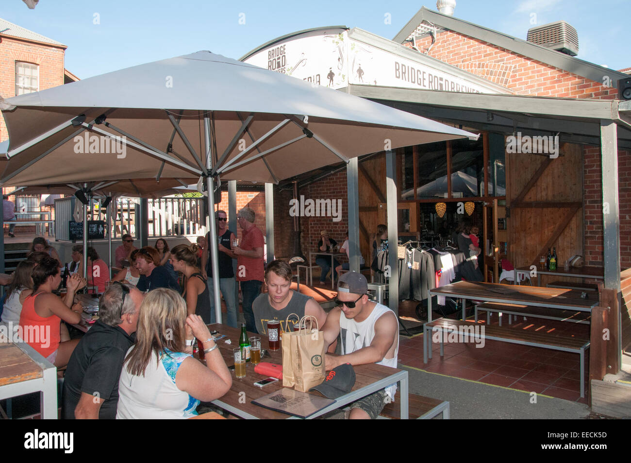 Outdoor bar area at bridge road brewers beechworth ne victoria