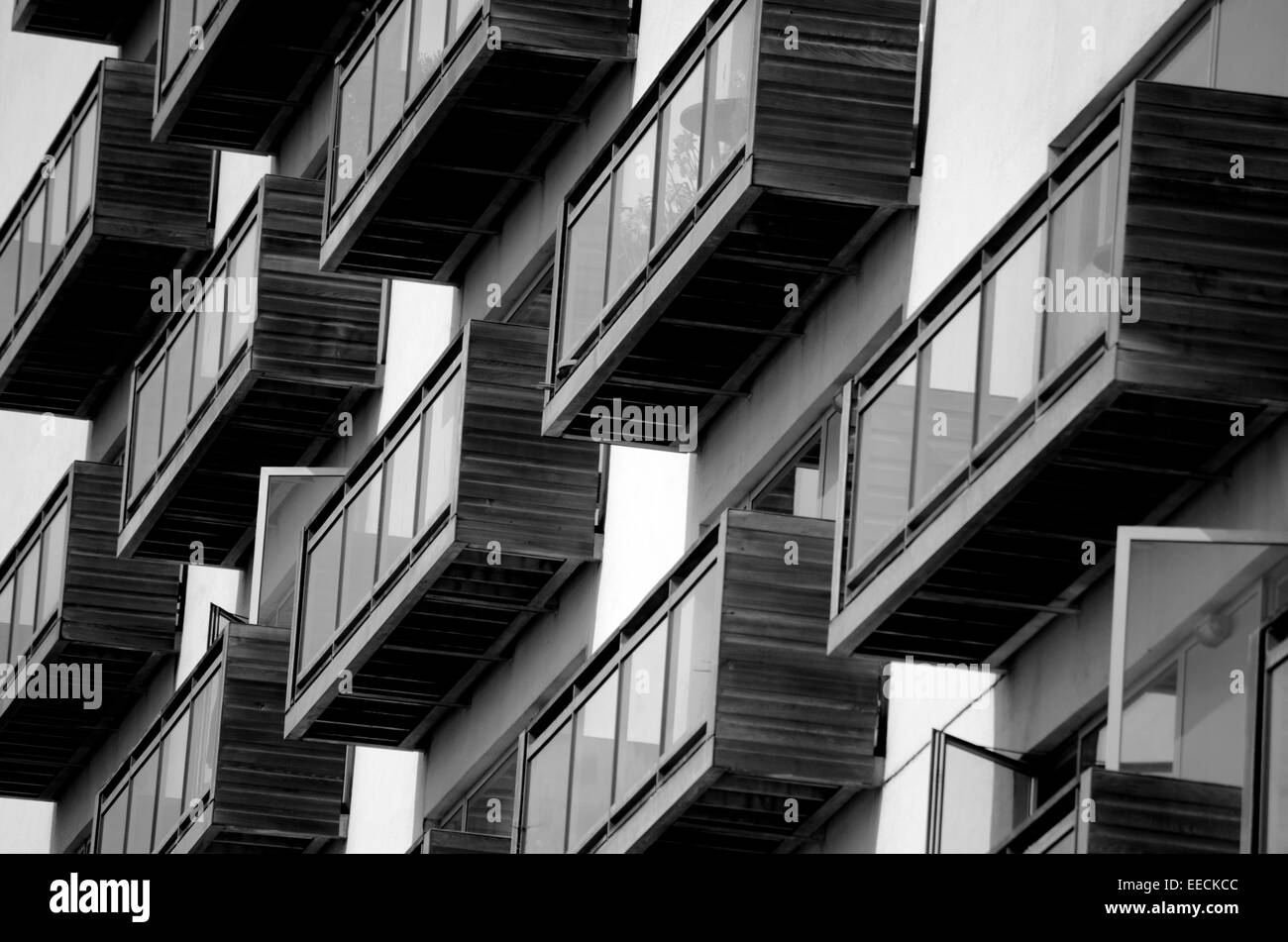 Modern flats at Glasgow Harbour in Partick in Glasgow, Scotland - Stock Image