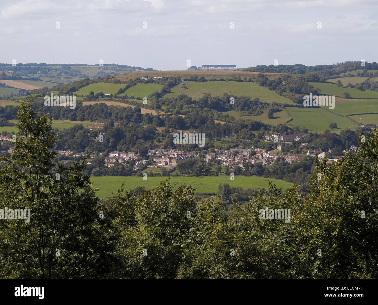 Solsbury Hill and Batheaston Somerset from Bathford England UK Stock Photo