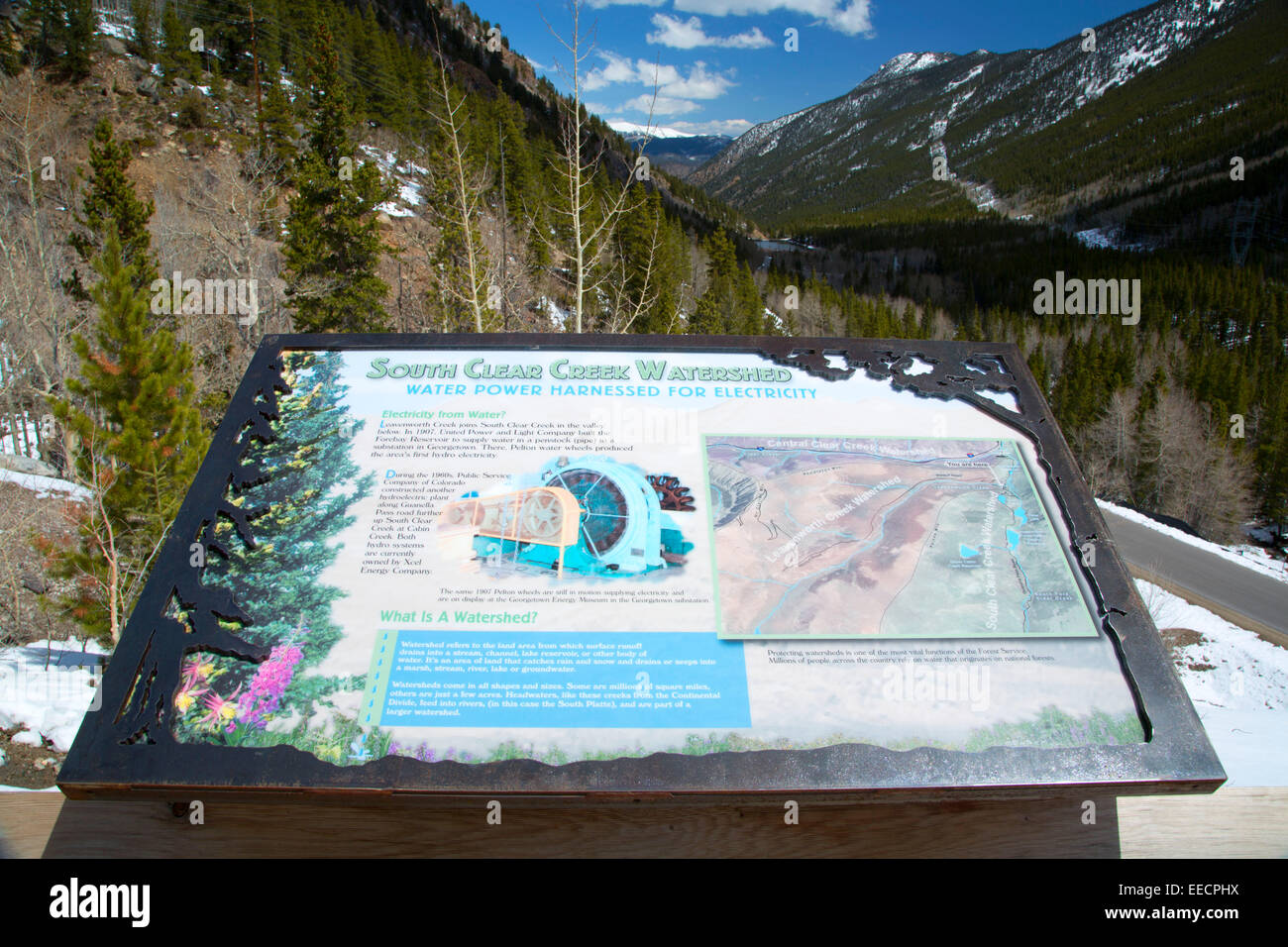 South Clear Creek Watershed interpretive board, Arapaho National Forest, Guanella Pass Road Scenic Byway, Colorado - Stock Image