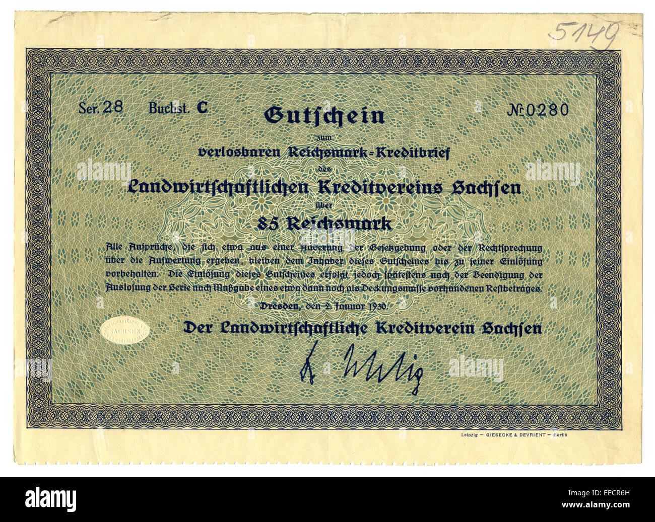 Historic share certificate, Old voucher, front, 85 Reichsmark, Saxony, Germany, 1930, - Stock Image