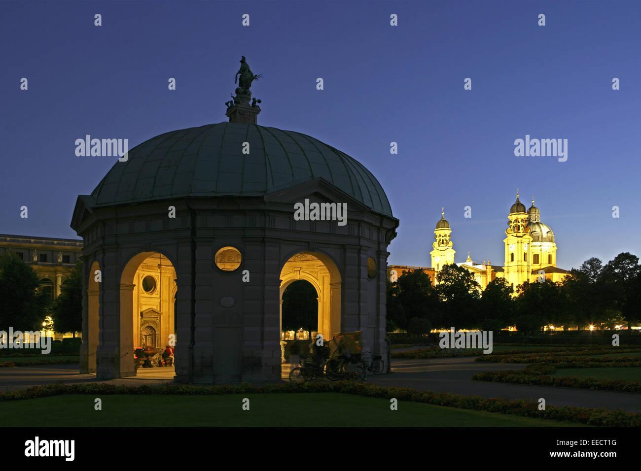 Architektur, Bauwerk, Bauwerke, Dianatempel, Gebaeude, Geschichte, Hofgarten, Landeshauptstadt, Oberbayern, Park, - Stock Image