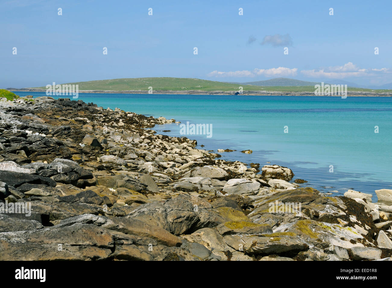 Boreray Island viewed from cemetry at Machair Leathann - Stock Image