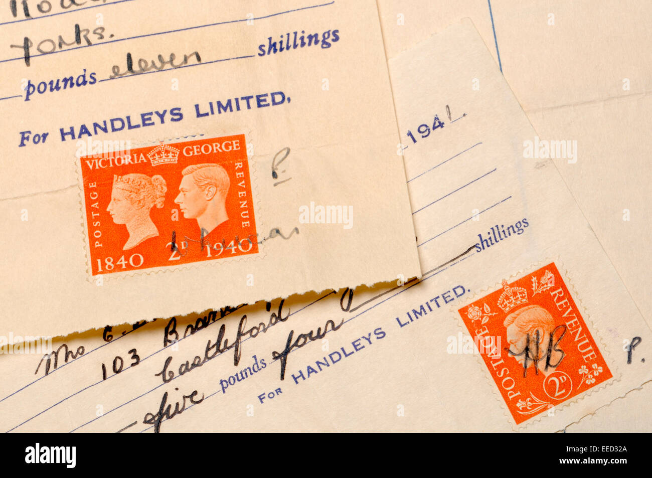 Postage stamps used to legally validate a receipt - George VI, 1941 - Stock Image