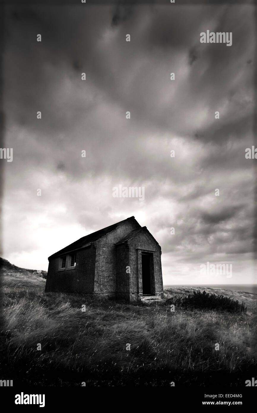 Old Cottage Isle Of Barra, Outer Hebrides, Scotland - Stock Image