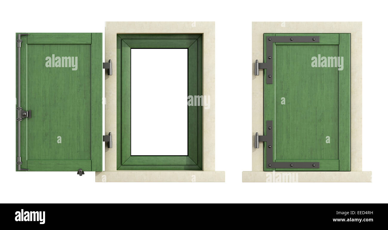 Wooden windows with close and open shutter isolated on white - 3D Rendering Stock Photo