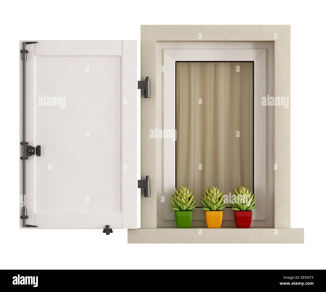 White window with open shutter and small cactus plants on the windowsill, isolated - 3D Rendering Stock Photo