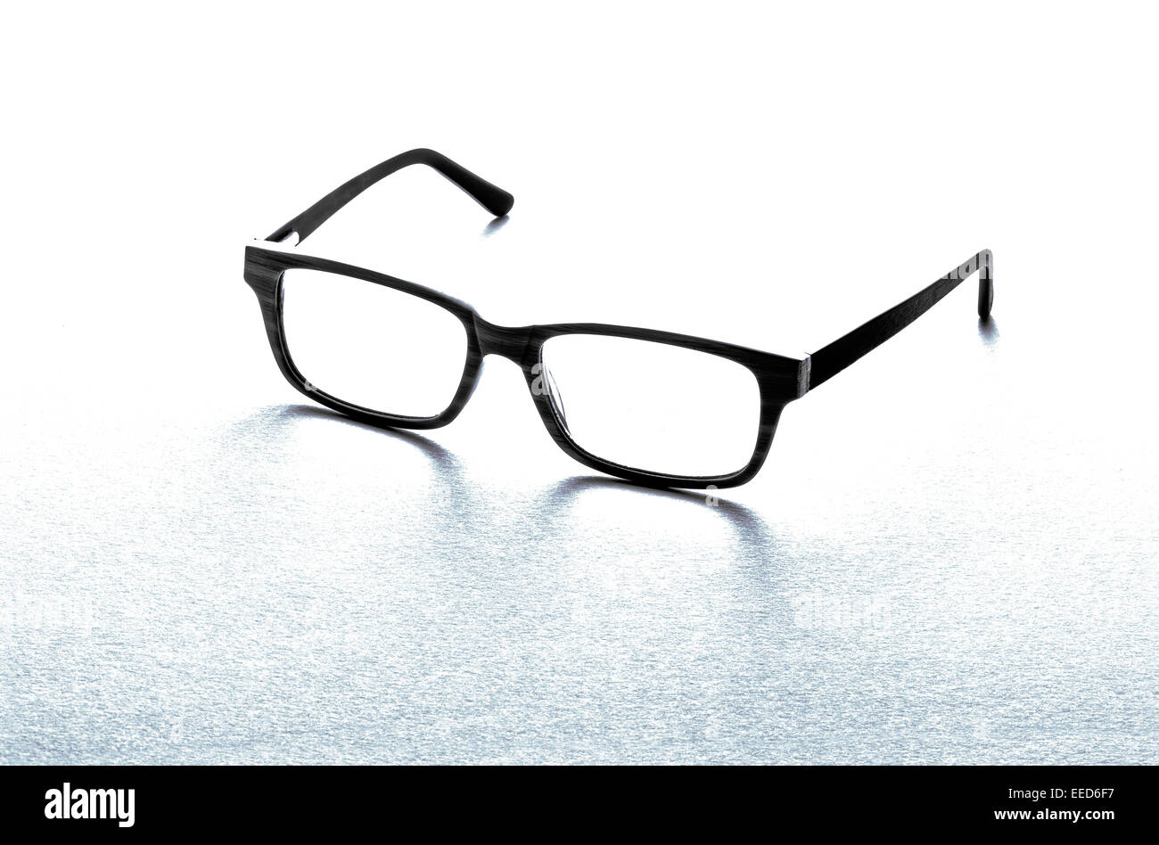Pair of black framed spectacles or eyeglasses - Stock Image