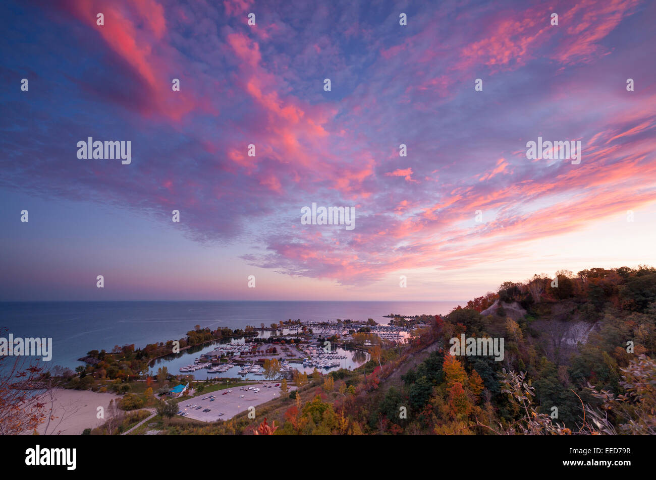 A view of the arina at Bluffer's Park, taken from atop the bluffs in Scarborough, Ontario, Canada. - Stock Image