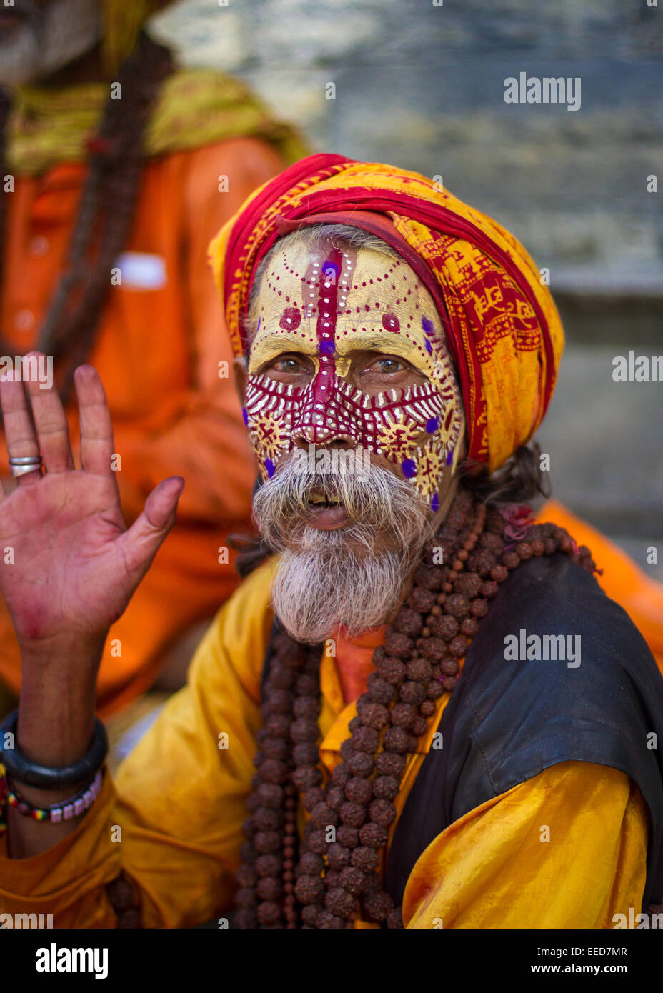 A sadhu is a Hindu holy man, or religious ascetic. Seen here in the temple district of Pashupatinath, in Kathmandu, Stock Photo