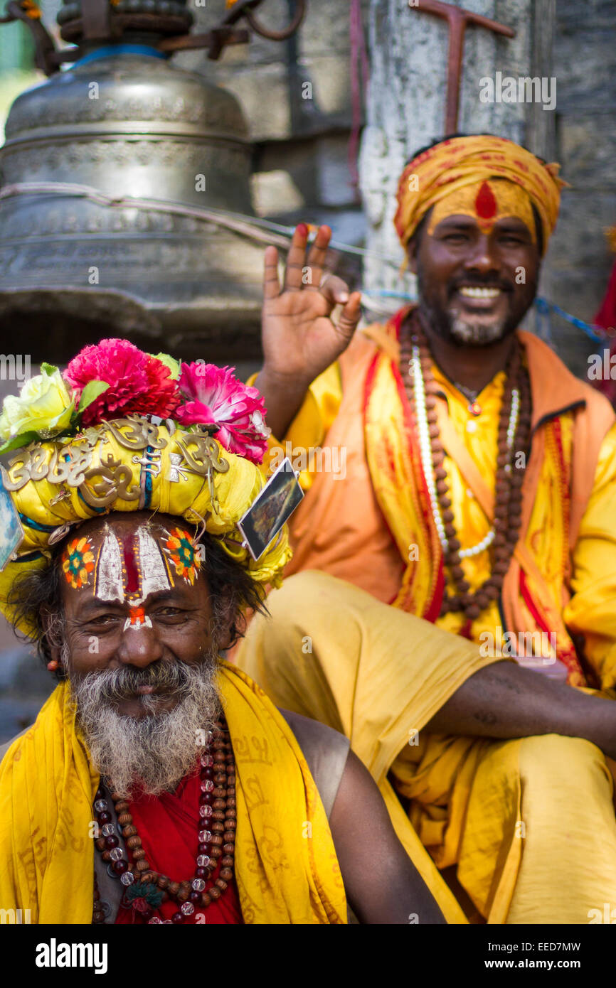 A sadhu is a Hindu holy man, or religious ascetic. Seen here in the temple district of Pashupatinath, in Kathmandu, - Stock Image