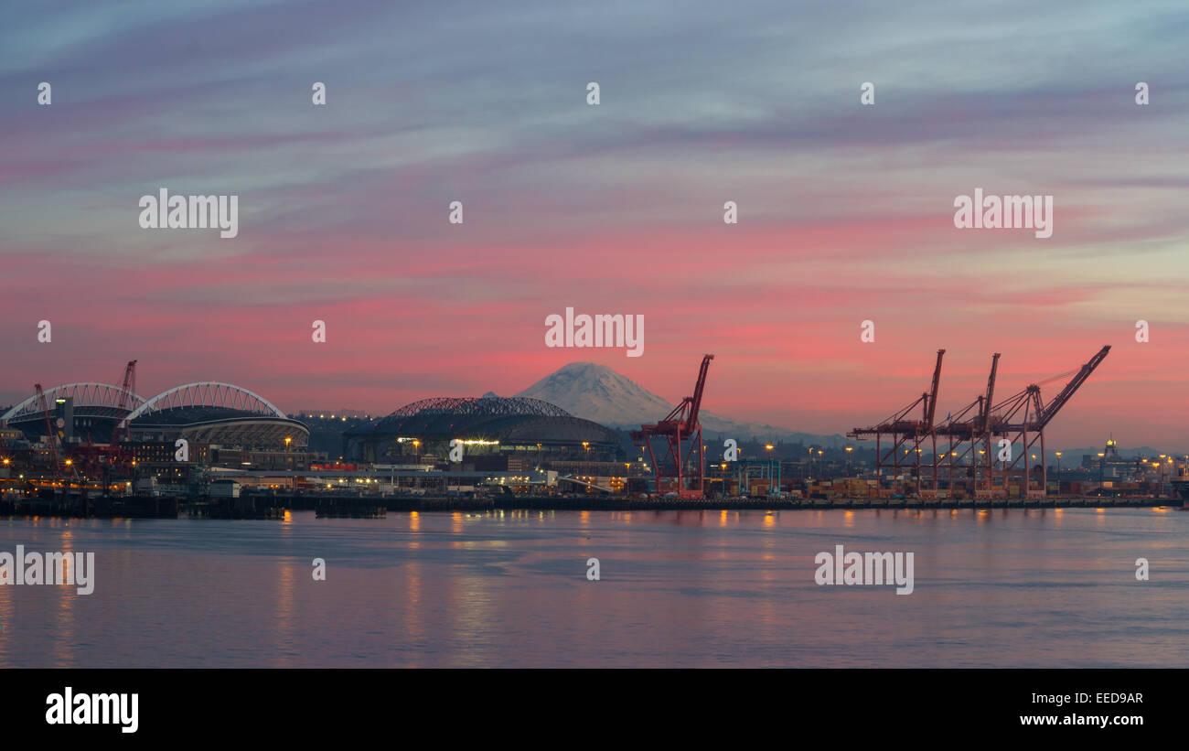 Centurylink Field, Safeco Field, and the Port of Seattle, seen across Elliott Bay - Stock Image