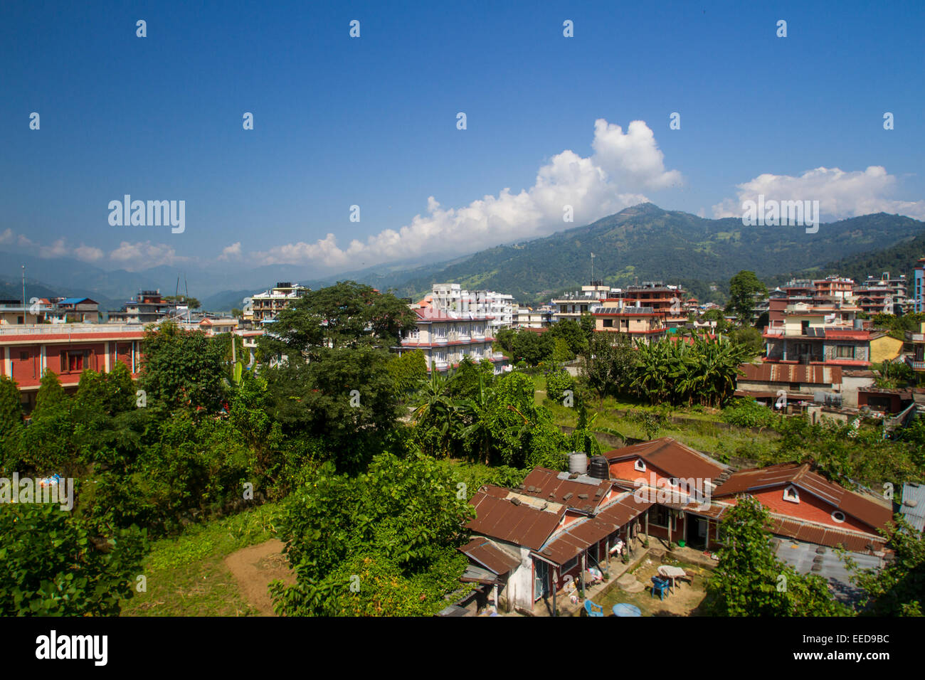 Pokhara, Nepal, as seen from a hotel balcony. - Stock Image