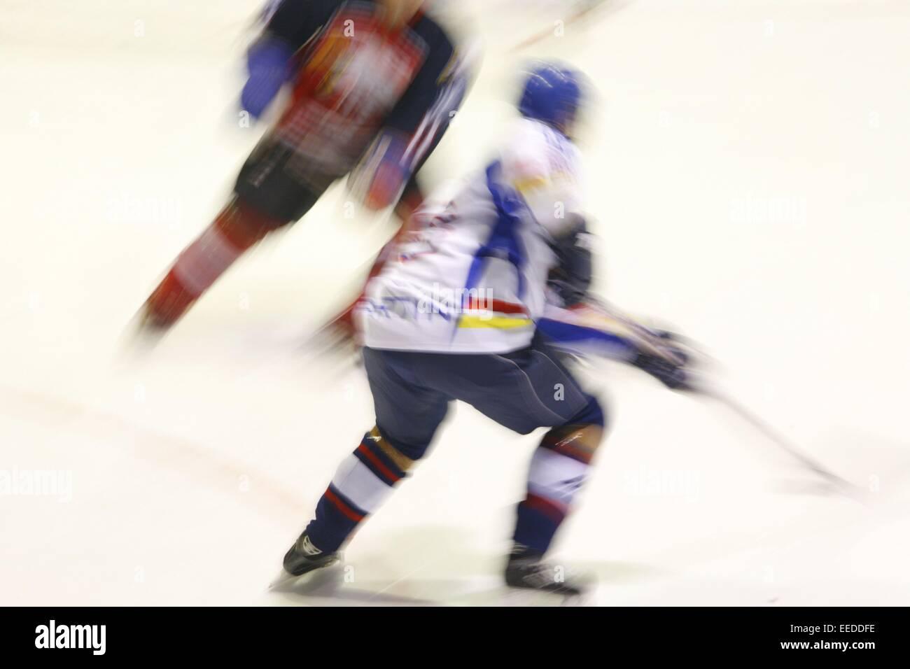 Eishockey, Spielszene, Eishockeyspiel, Spieler, Spiel, Mannschaftspiel, Sport, Mannschaftssport, sportlich, Hobby, - Stock Image