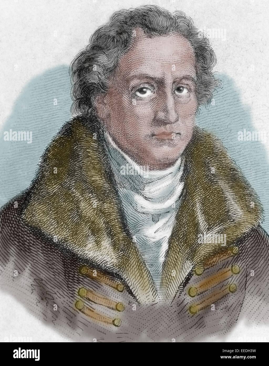 Johann Wolfgang von Goethe (1749-1832). German writer. Literary movement, Weimar Classicism. Engraving, 19th C. - Stock Image