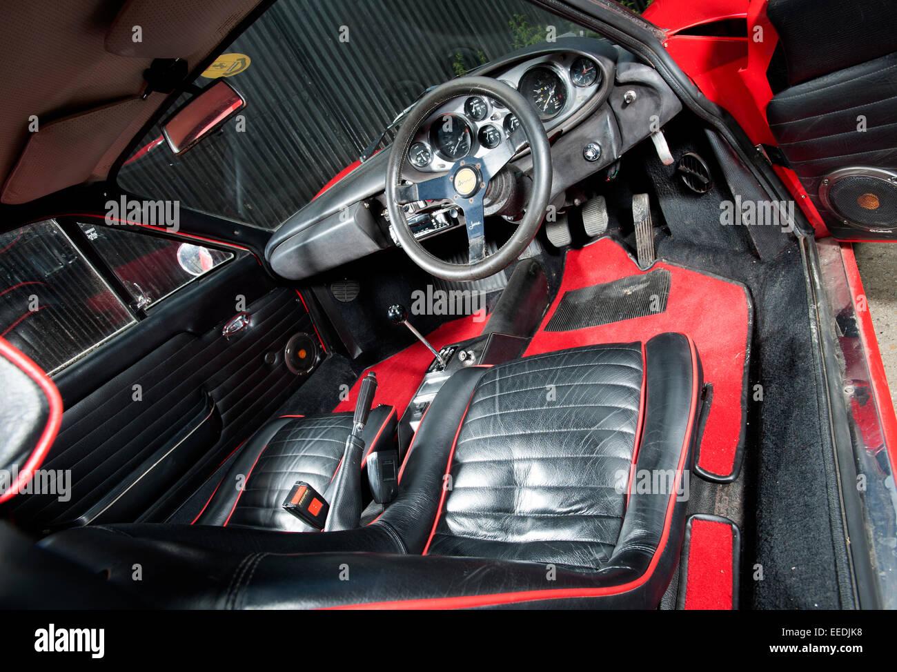 Ferrari Dino classic Italian car interior - Stock Image