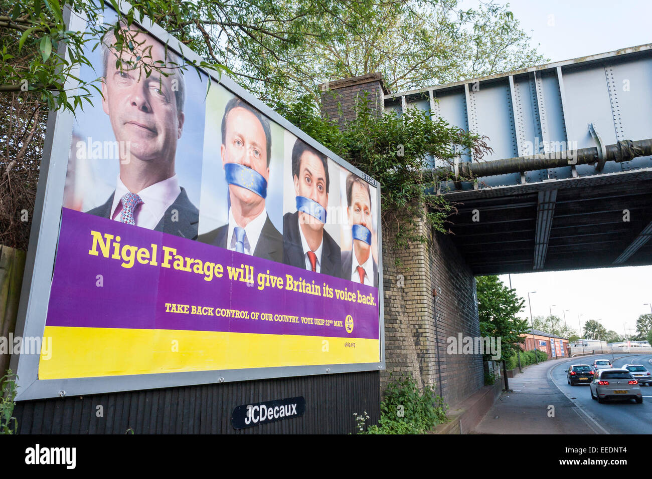 UKIP poster on roadside billboard for EU elections 2014 - Stock Image