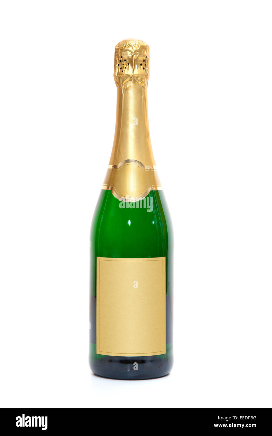 Blank champagne bottle. All on white background. Stock Photo