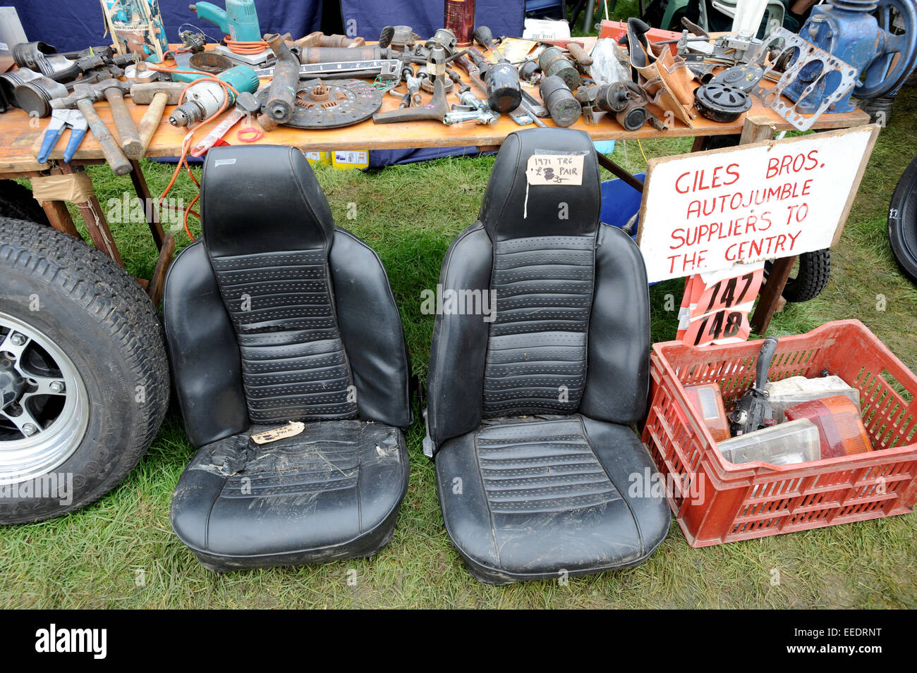 Car seats and other parts for sale at Beaulieu Autojumble, massive ...