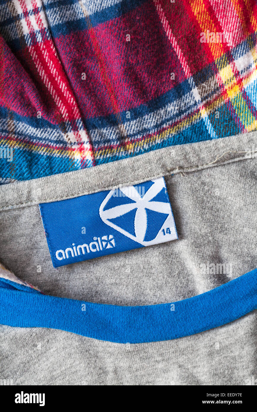 Animal label in hooded top - Stock Image