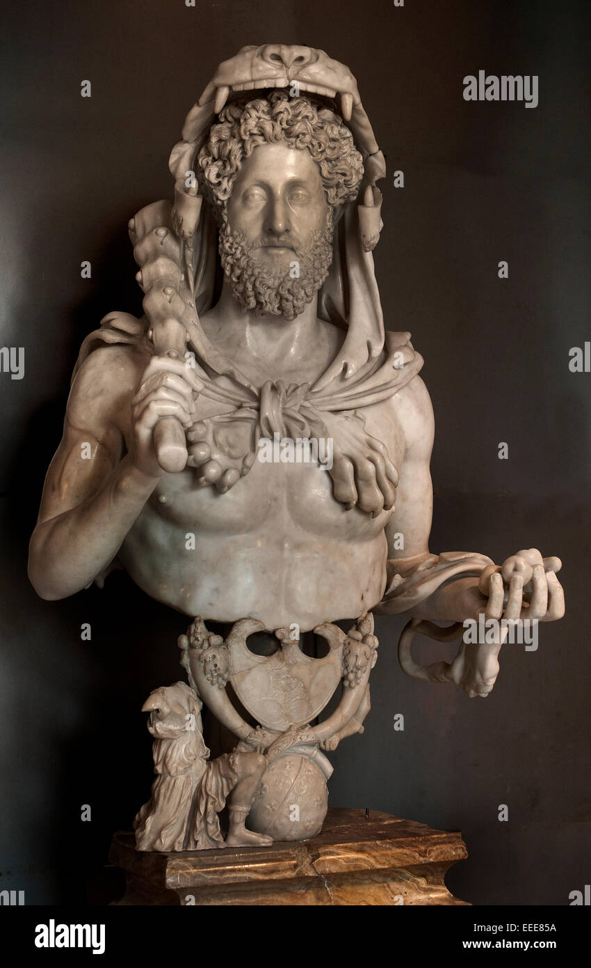 Commodus as Hercules 180 - 193 AD Marble cm 133  Roman Rome Capitoline Museum Italy Italian ( Heracles Greek God - Stock Image