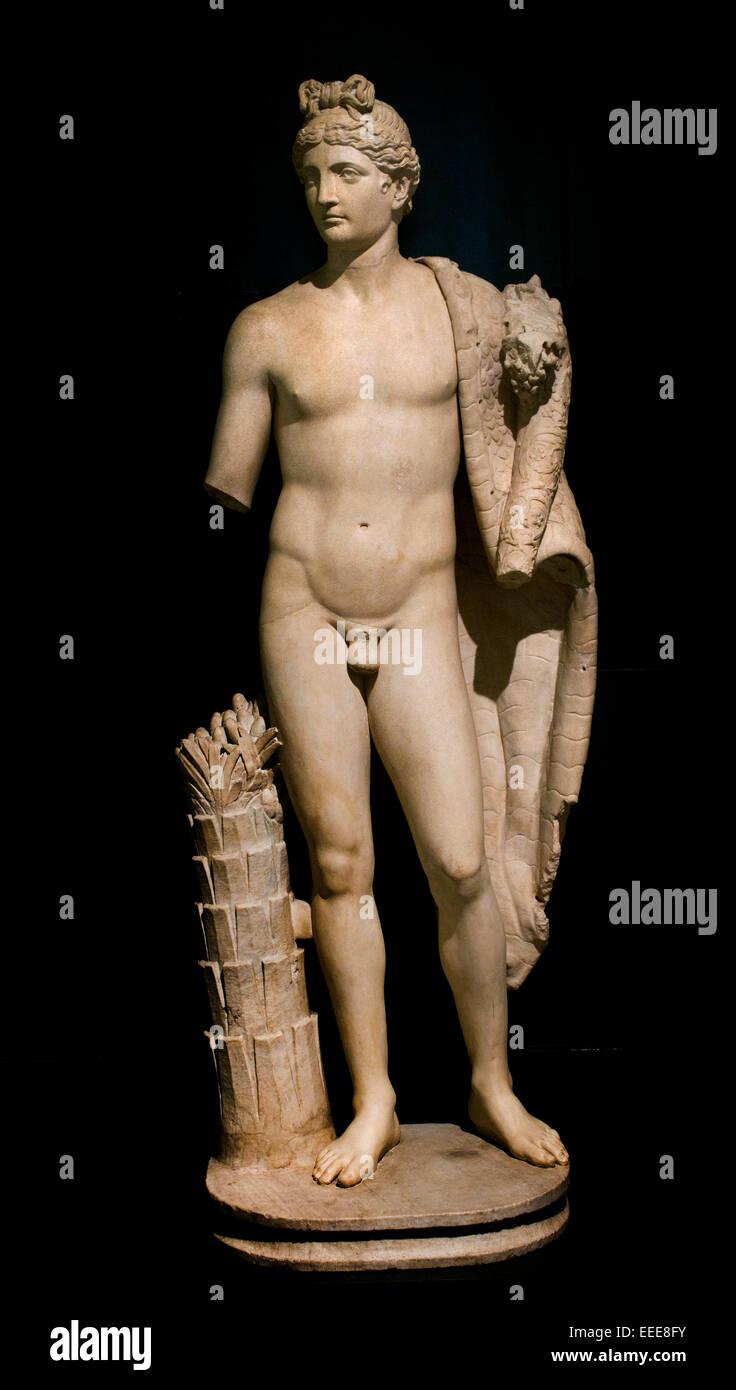 Statue of a Genius with cornucopia ( Genius of Emperor Domitian 81-96 AD ) Roman Rome Capitoline Museum Italy Italian - Stock Image