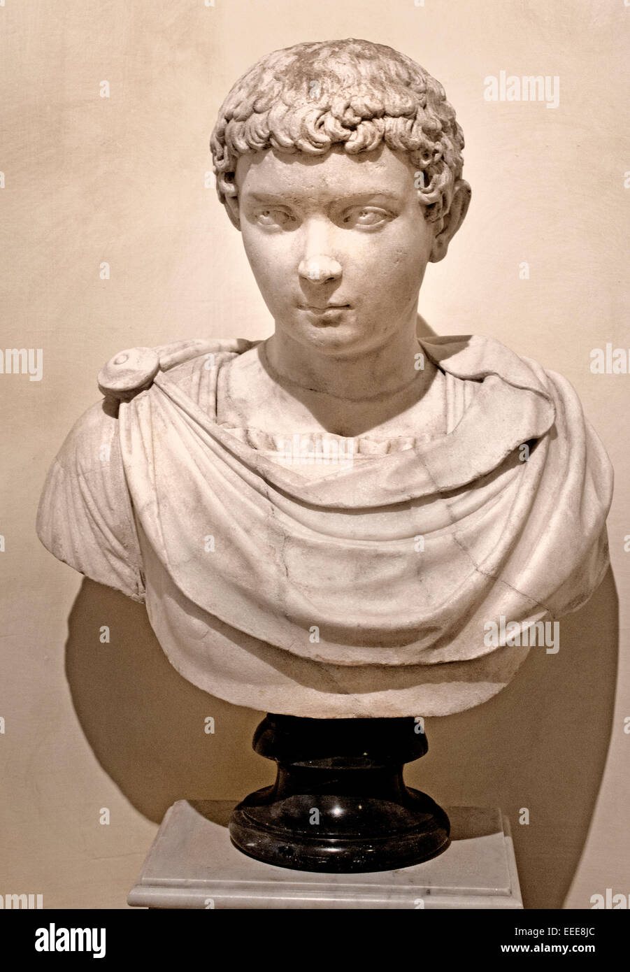 Portrait of a Boy ( the face resemble of Caracalla as a Boy second century AD  Roman Rome Capitoline Museum Italy - Stock Image