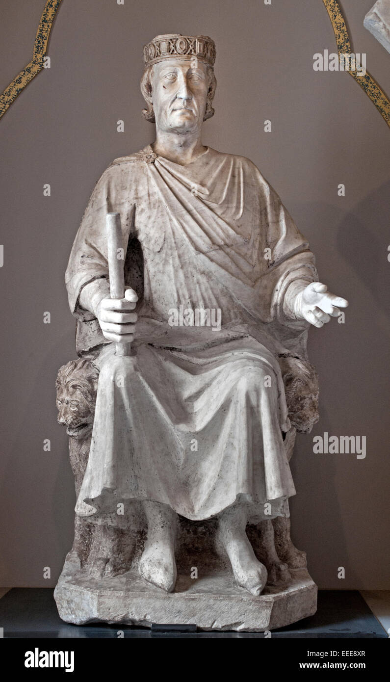 Statue of Charles I of Anjou  ( Charles I 1227 – 1285  King of Sicily )   Sculpture1277 circa Marble cm 200  by - Stock Image