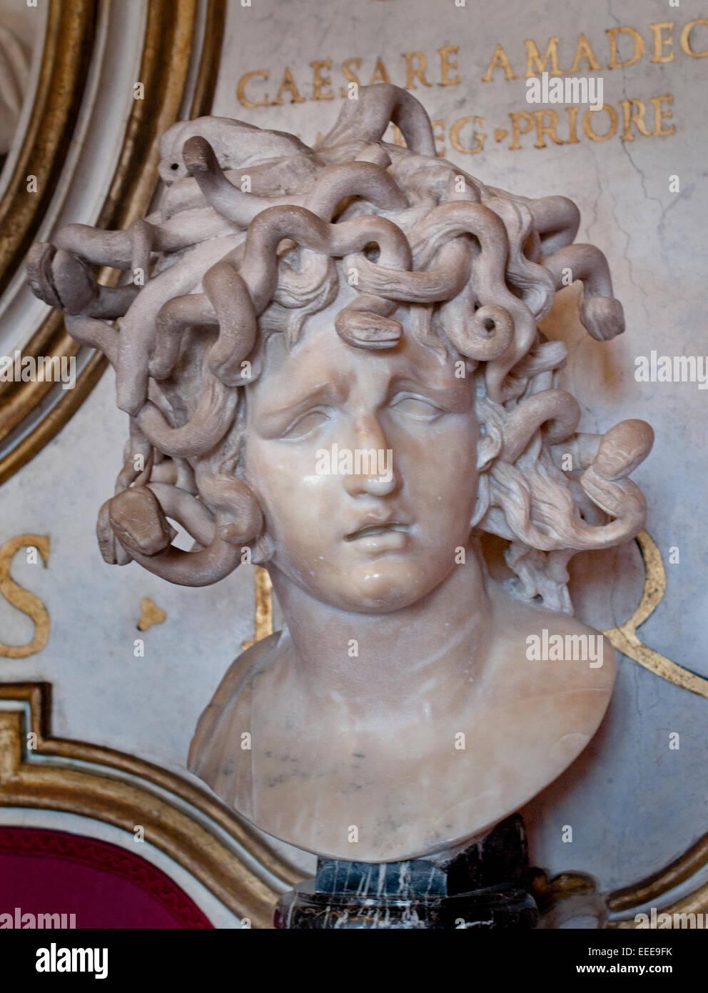Bust of the Medusa (1644 - 1648)  Gian Lorenzo Bernini 1598 - 1680  Roman Rome Capitoline Museum Italy Italian - Stock Image