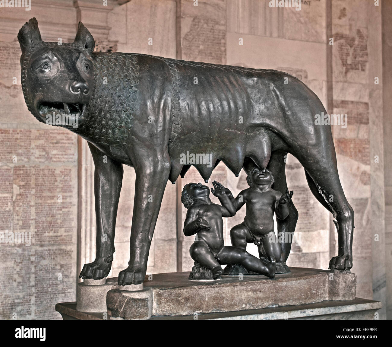 Capitoline She-wolf V Century B.C. (or Medieval Age)  Bronze 75 CM  with Romulus and Remus Capitoline Museum Rome - Stock Image