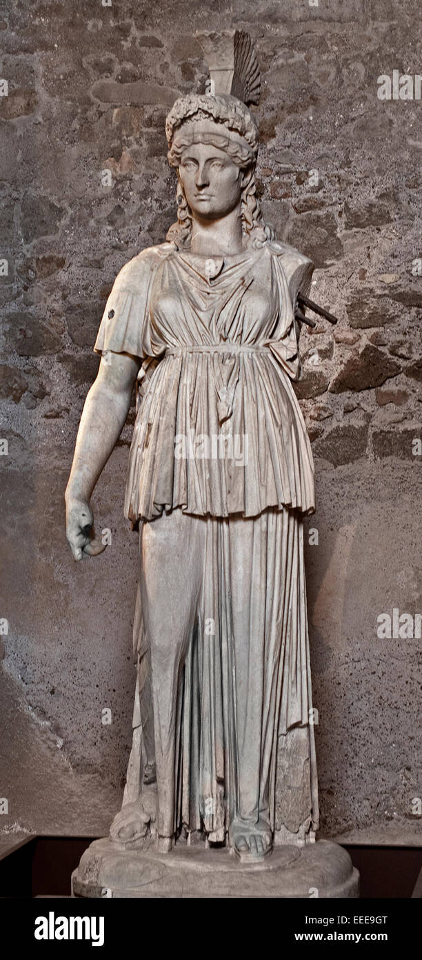 Colossal statue of Minerva (Athena) in the Tabularium Roman Rome Capitoline Museum Italy Italian - Stock Image