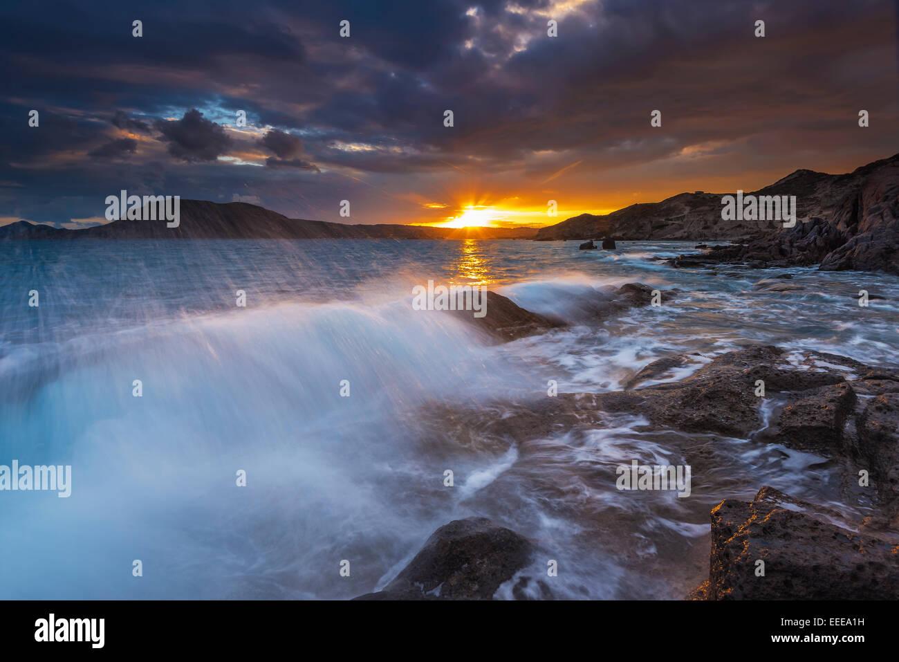 Paradise beach in Kos island at winter sunset - Stock Image