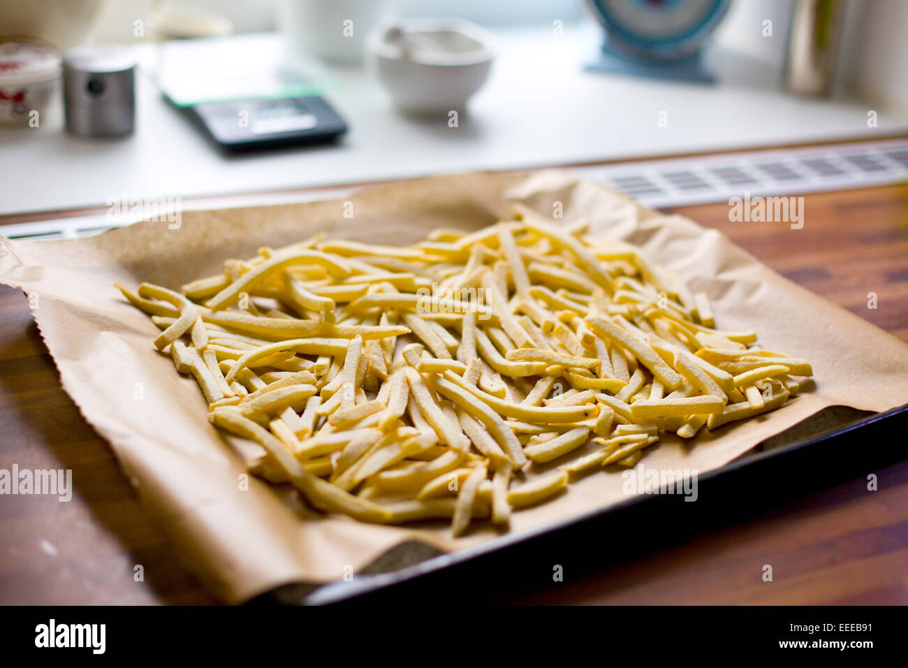 the french fries on roaster - Stock Image