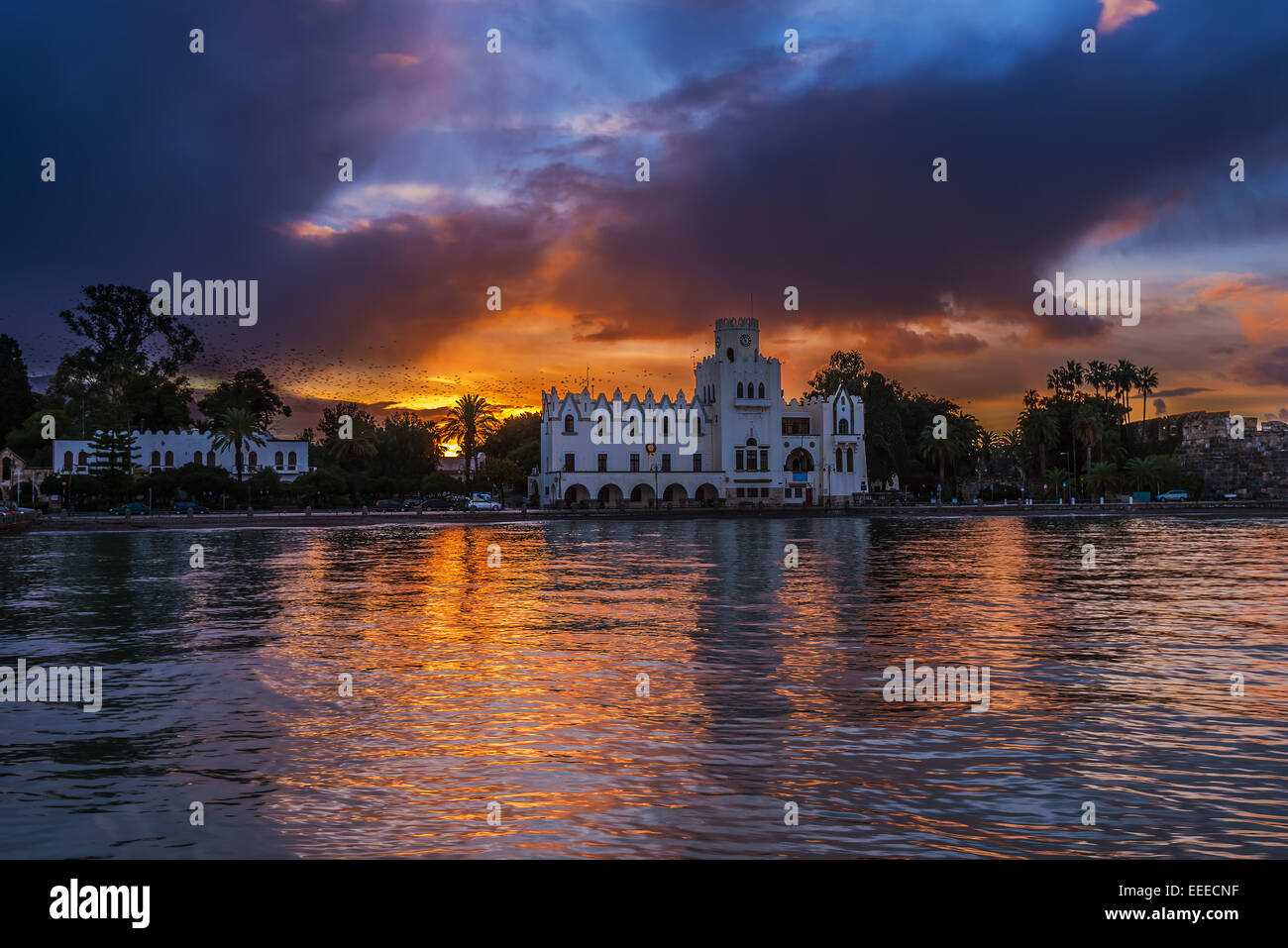 Building with Italian architecture in Kos islang Greece - Stock Image