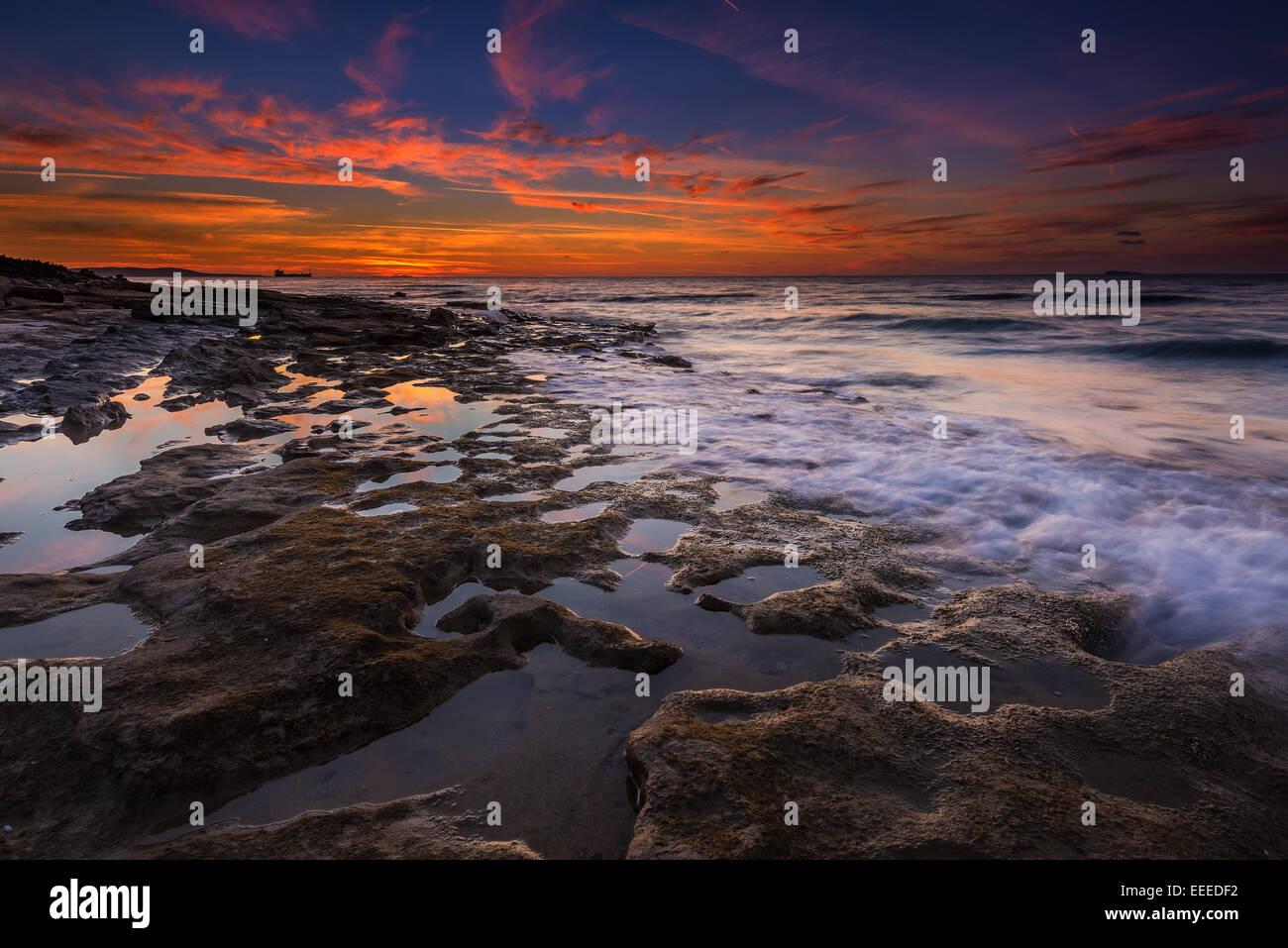 winter sunset in Kos island Greece - Stock Image
