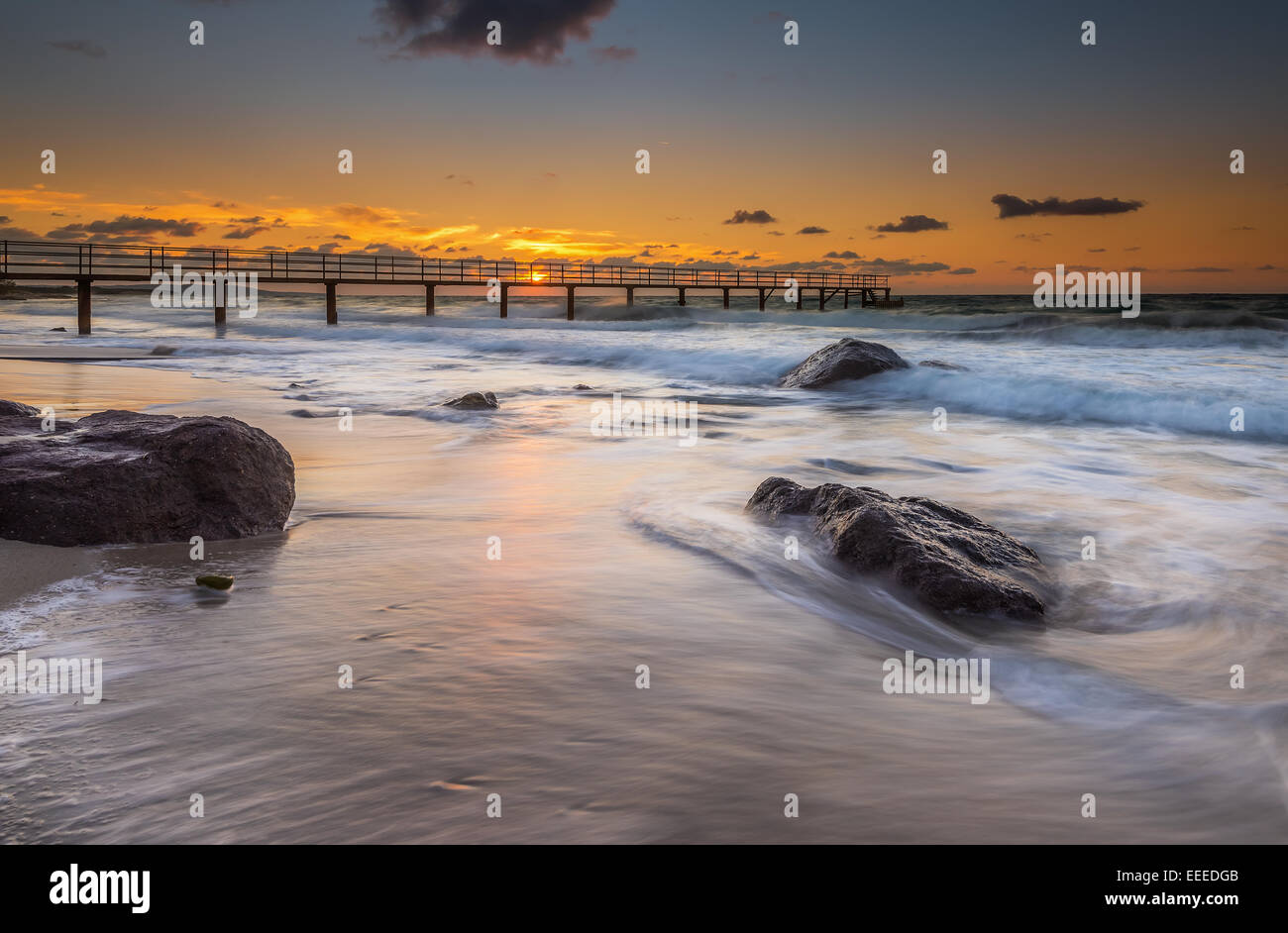 Sunset in Mastichari beach in Kos island Greece - Stock Image
