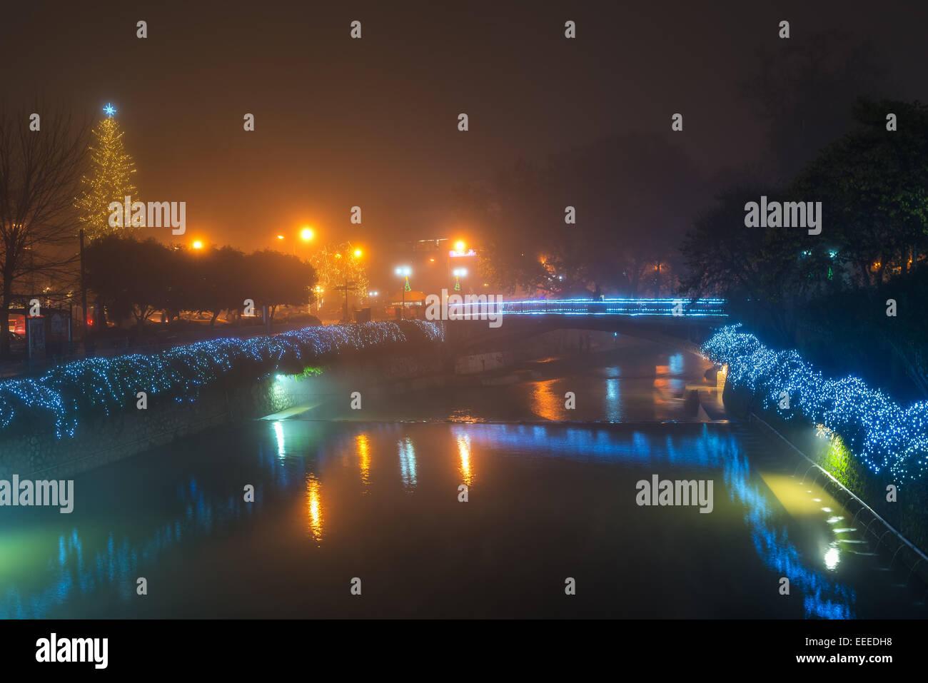 Trikala city with Christmas light and Litheos river - Stock Image