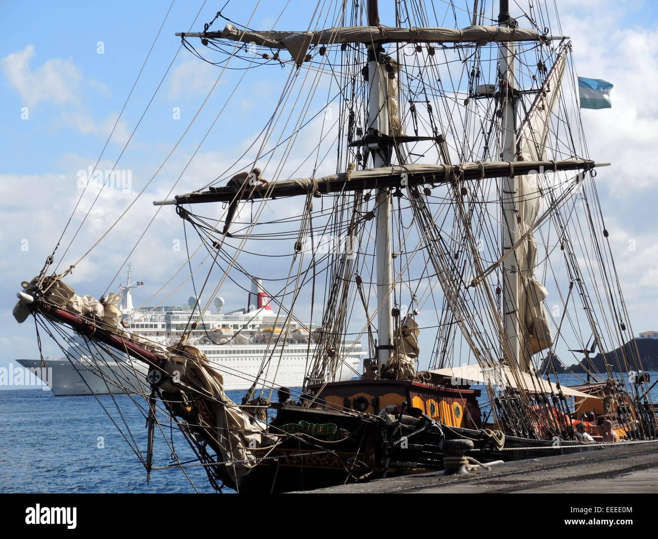 "The engineless Sailing Cargo Ship ""Tres hombres"" in the harbour of the city of Santa Cruz on the canarian island Stock Photo"