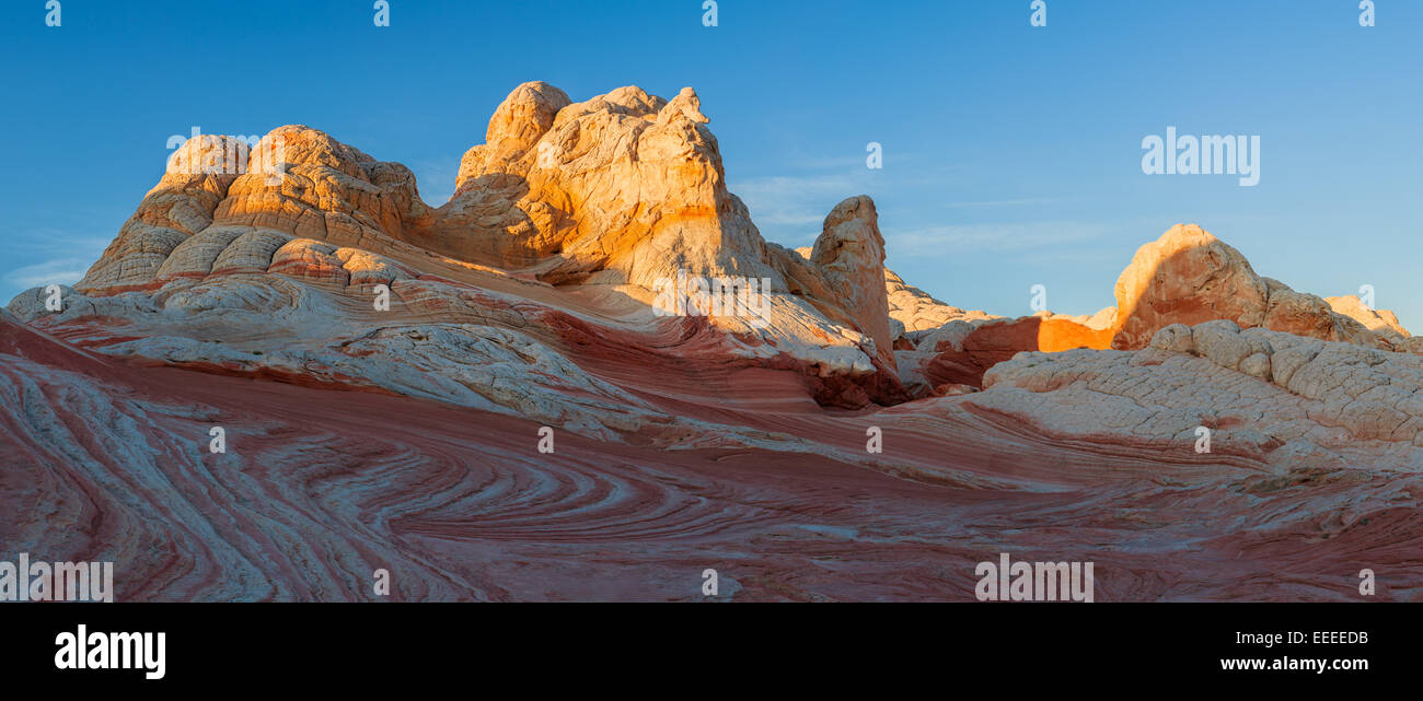 Rock formations in the White Pocket which is part of the Vermilion Cliffs National Monument. - Stock Image