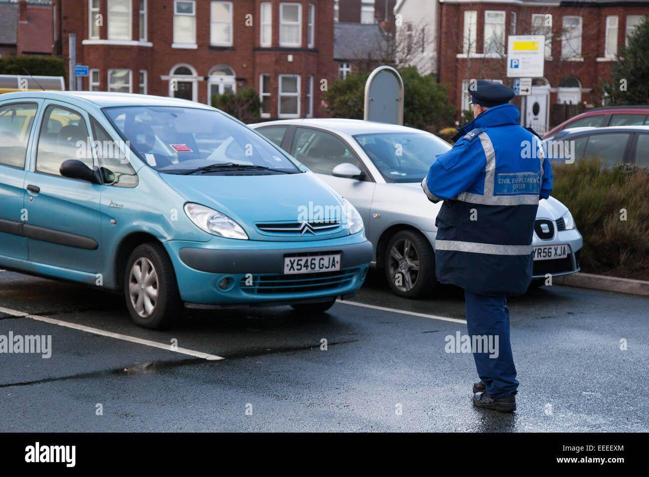 Southport, Merseyside, 16th January,2015.  12.15pm  Parking Blitz Central 12 Retail Park.  The Government is committed Stock Photo