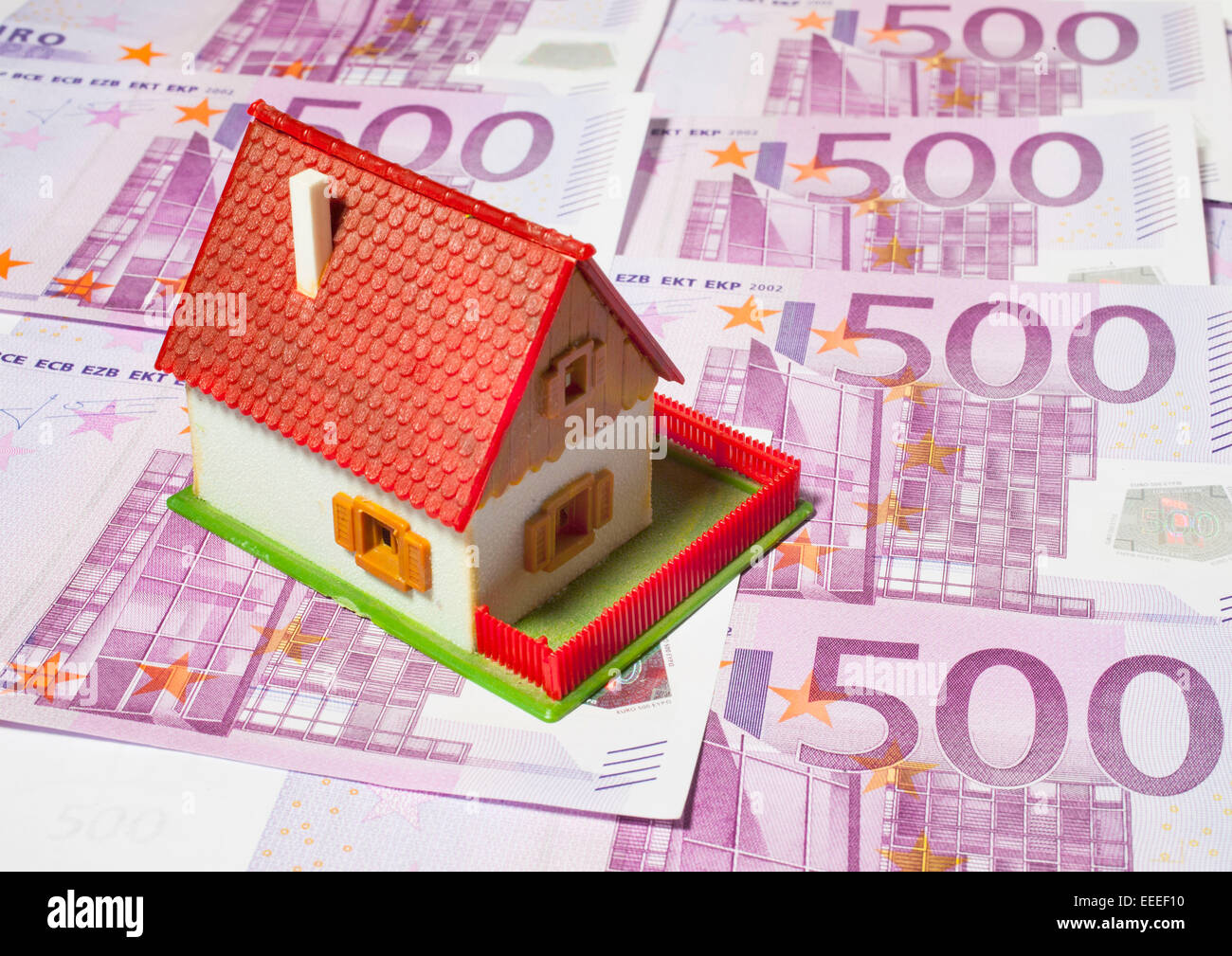 House with 500 Euro banknotes, 08.January 2015 Stock Photo