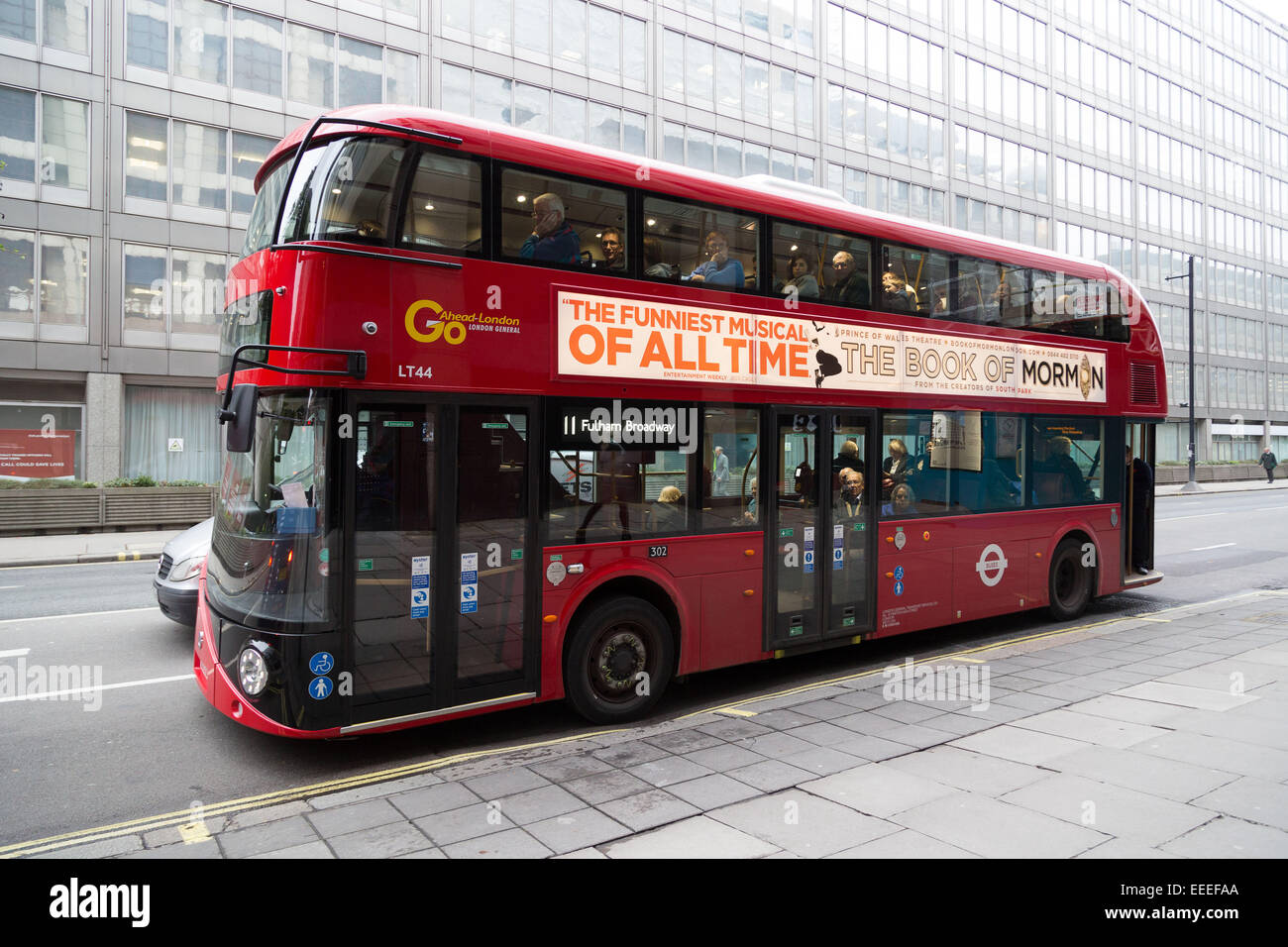 Illuminated side panel on the New Bus for London - Stock Image