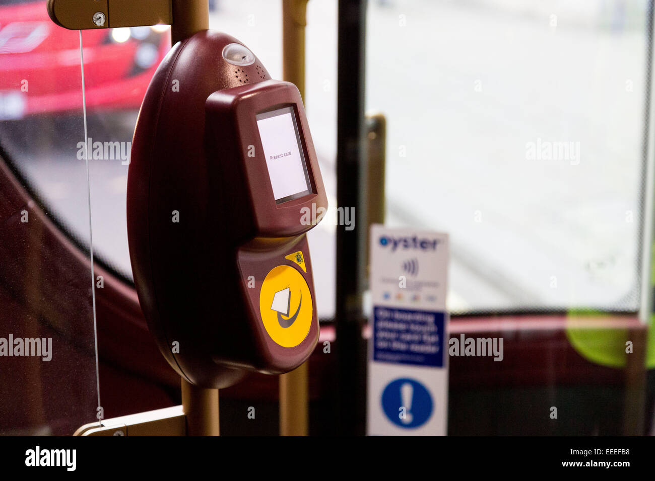 Oyster card reader on the New Bus for London - Stock Image