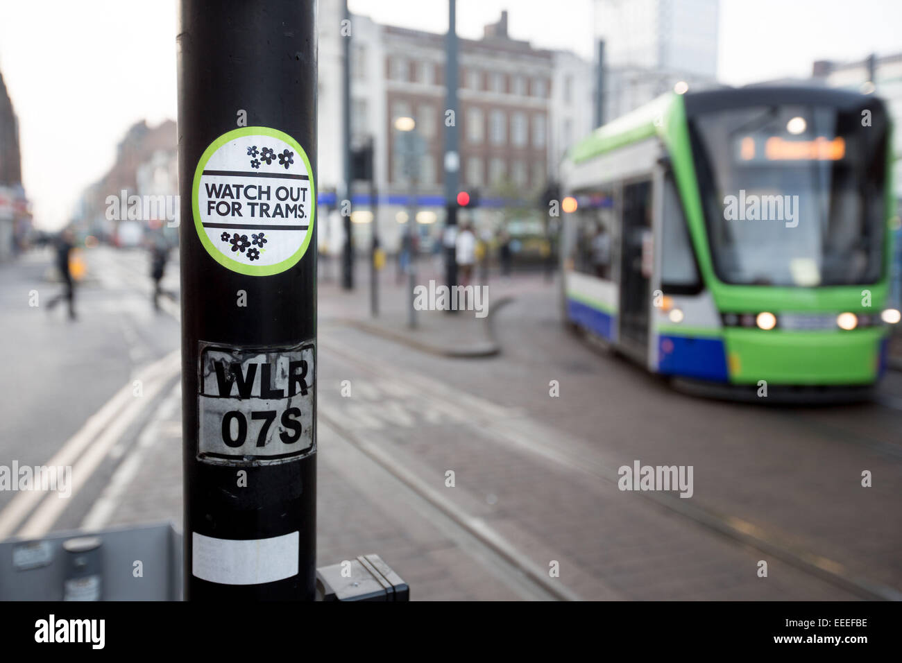 Watch out for trams sticker - Stock Image