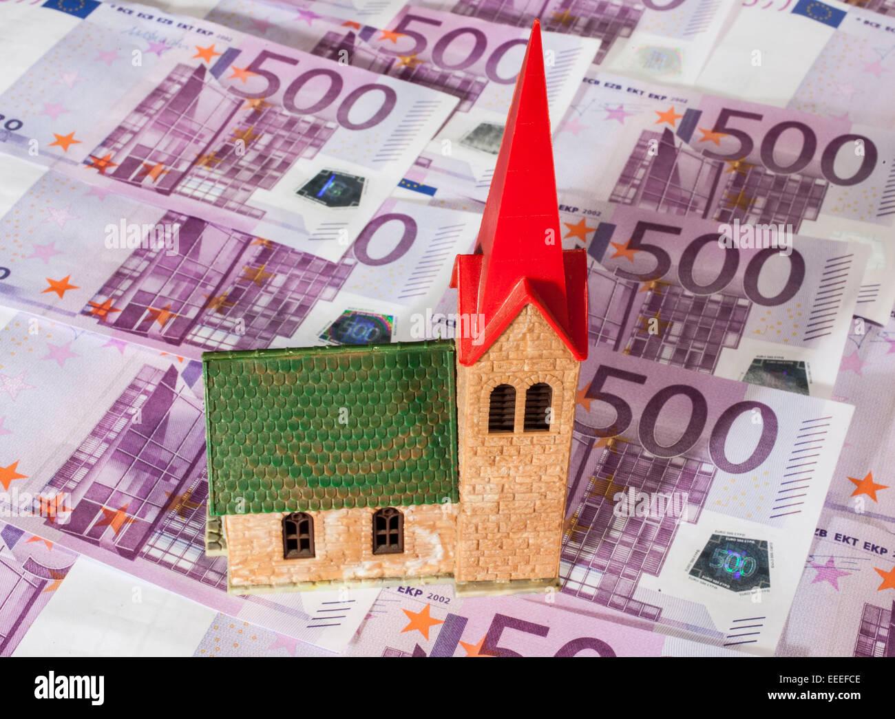 Church with 500 Euro banknotes, 08.January 2015 Stock Photo