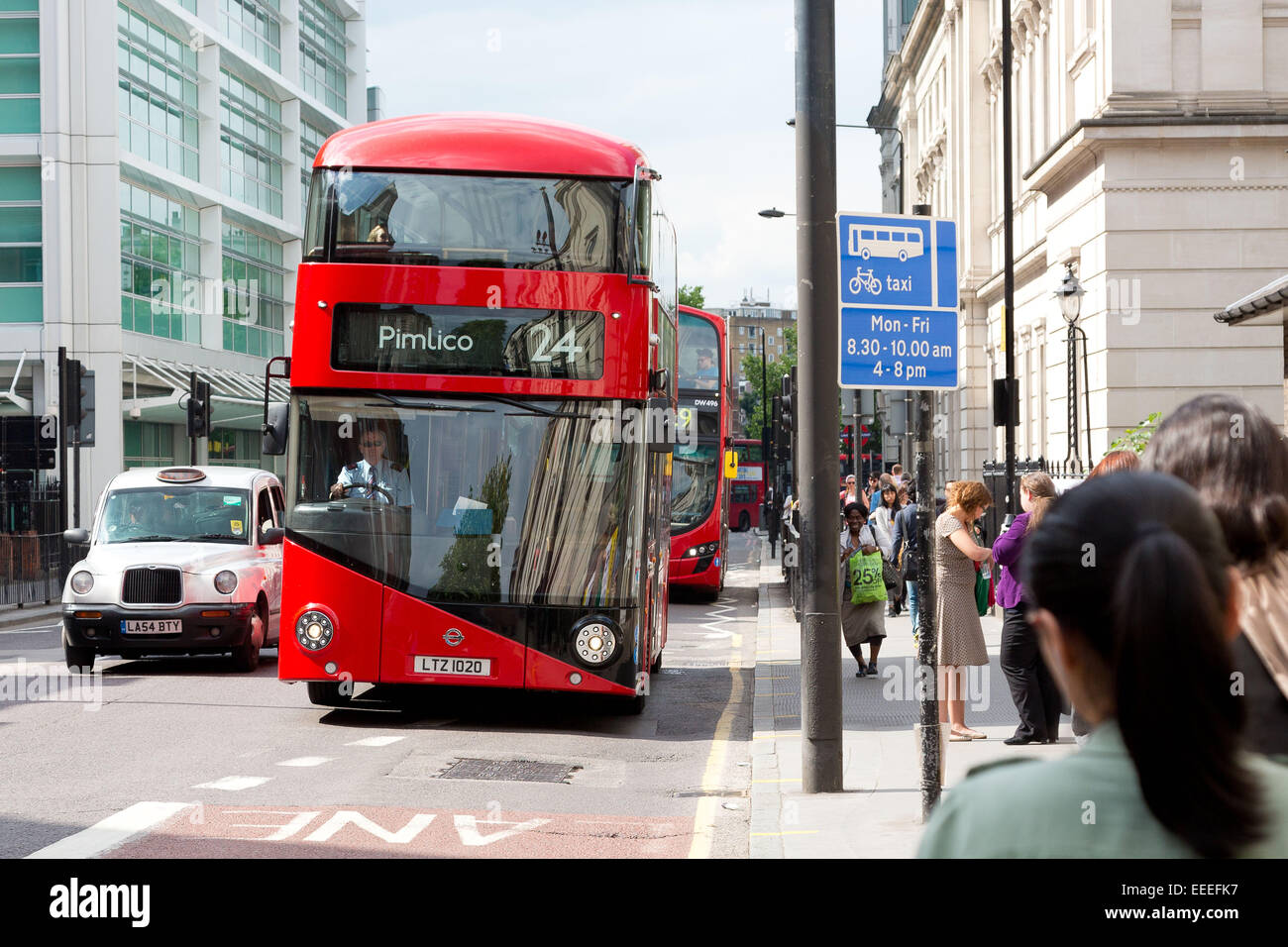 Front view of the New Bus for London on route 24 - Stock Image